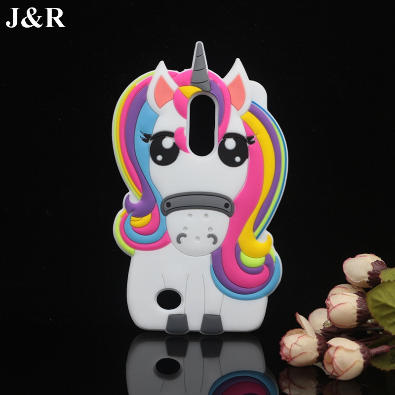 Galleria fotografica For LG K8 2017 Case Silicone Soft Back Cover For LG Aristo LV3 MS210 / K8 2017 M200N Cute 3D Cartoon Unicorn Phone Bag Cases