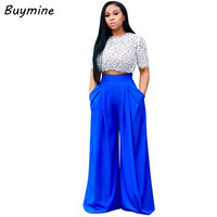 Buymine Pleated Wide Leg Pants High Waist Chiffon Pants Trousers For Women Bohemian Wide Leg Pants