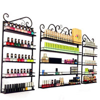3Pcs/Set 5 Layer Iron Nail Polish Shelf Black Nail Shop Exhibition Shelf Nail Polish Display Wall Rack Makeup Bathroom Organizer