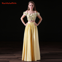 2018 New Arrival Fresh Summer Active Yellow Long Evening Dress Suit 3D Flowers A Line Real