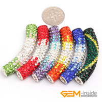 9x48mm Column Curved Pave Crystal Beads 5 Pcs Rhinestone Beads For Jewelry Making Beads Multicolor