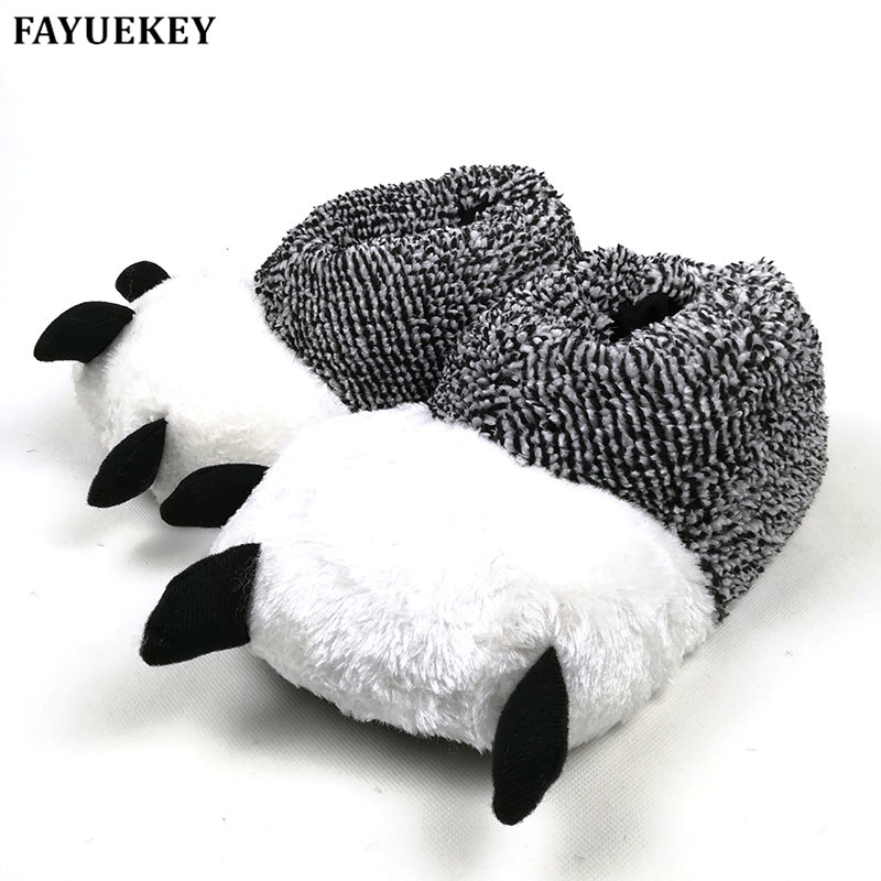 FAYUEKEY 2 Colors Autumn Winter Warm Home Paw Plush Slippers Thermal Soft Cotton Animal Bear Claw Slippers IndoorFloor Shoes