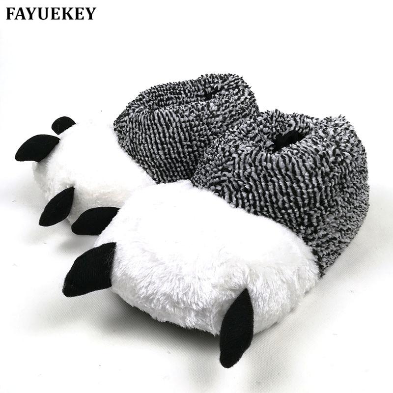 FAYUEKEY 2 farver efterår vinter varm hjem paw plys slippers termisk blød bomuld dyre bjørn claw slippers indendørs  gulv sko