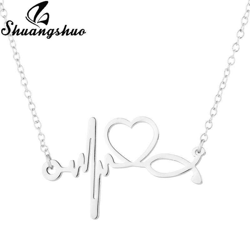 Shuangshuo stetoskop bicie serca naszyjnik dla kobiet srebrny łańcuch naszyjniki wisiorki ze stali nierdzewnej Femme Alothing i akcesoria