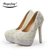 BaoYaFang Bege pérola e cristal sapatos de casamento das mulheres sapatos de plataforma alta sapatos de Noiva senhoras tamanho grande Bombas mulher sapatos