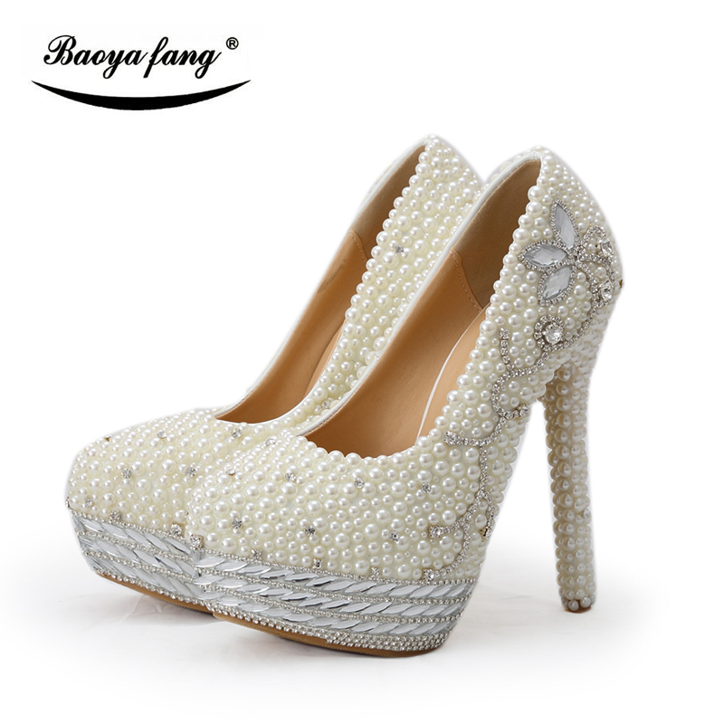 BaoYaFang Beige pearl and crystal womens wedding shoes Bride platform shoes high shoes ladies big size Pumps woman shoes baoyafang red crystal womens wedding shoes with matching bags bride high heels platform shoes and purse sets woman high shoes