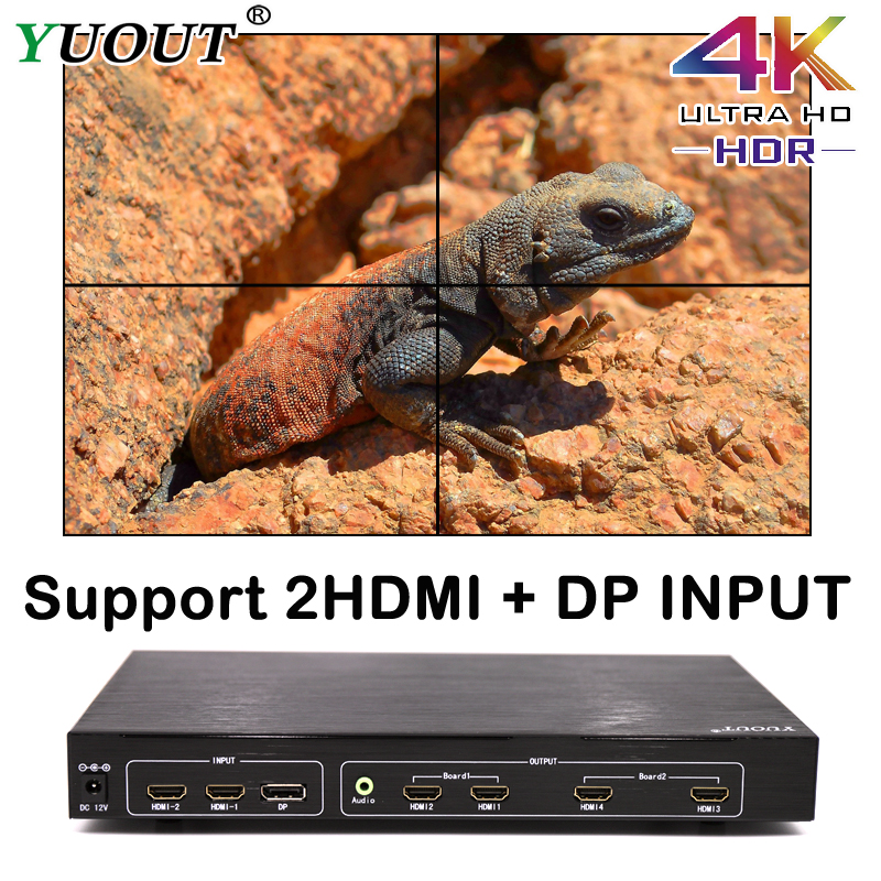 Yuout Yd-ud22 4k Hdmi 2x2 Video Wall Controller Dp/hdmi Processor 4tv Shows A Screen Splicing For Led/lcd Display Edge Shieldin To Assure Years Of Trouble-Free Service Accessories & Parts Consumer Electronics