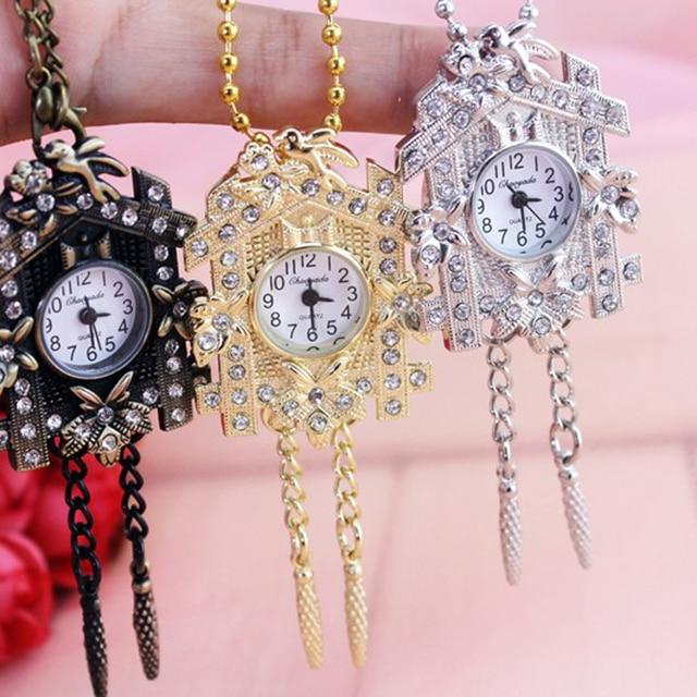 chaoyada Hot sale Fashion Bronze antiques House design Pocket watch necklace flo