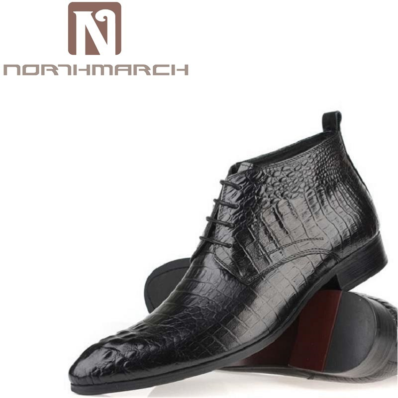 NORTHMARCH Men Autumn Winter Genuine Leather Italian Black Luxury Crocodile Fashion Ankle Boots Men Shoes For Wedding Business men autumn winter genuine leather italian black luxury fashion casual plush ankle boots mens shoes male for wedding business 09