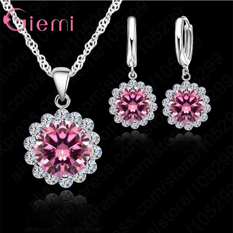 High Quality Sunflowers 925 Sterling Silver Cubic Zircon Wedding Jewelry Set Necklace Pendant Earrings Fashion Women Set