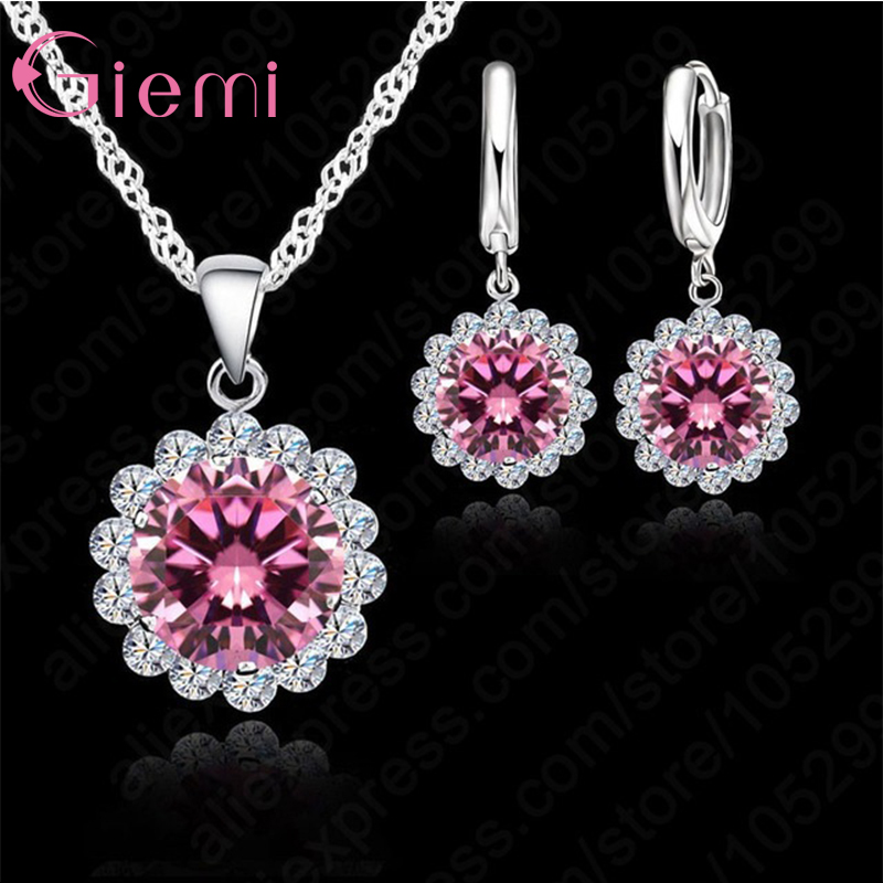 Giemi High Quality Sunflowers 925 Sterling Silver Cubic Zircon Wedding Jewelry Set Necklace Pendant Earrings Fashion Women Set Elegant Shape