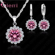 High Quality Sunflowers 925 Sterling Silver Cubic Zircon Wedding Jewelry Set Necklace Pendant Earrings Fashion Women Set(China)