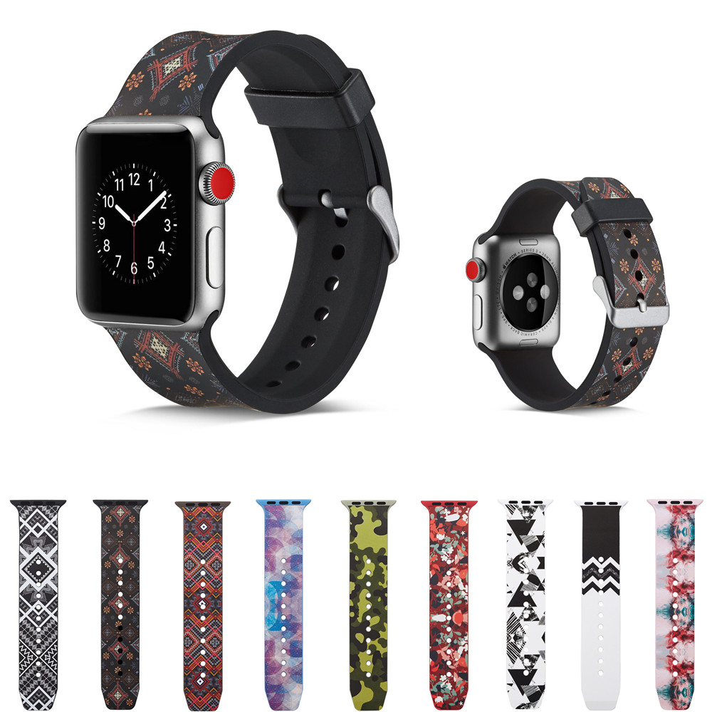 sport silicone strap for apple watch band 42mm 38mm iwatch series 4 3 2 1 watchband soft printing rubber bracelet accessories soft silicone sport band for apple watch series 1 2 3 38mm 42mm rubber strap replacement watchband for iwatch series 4 wristband