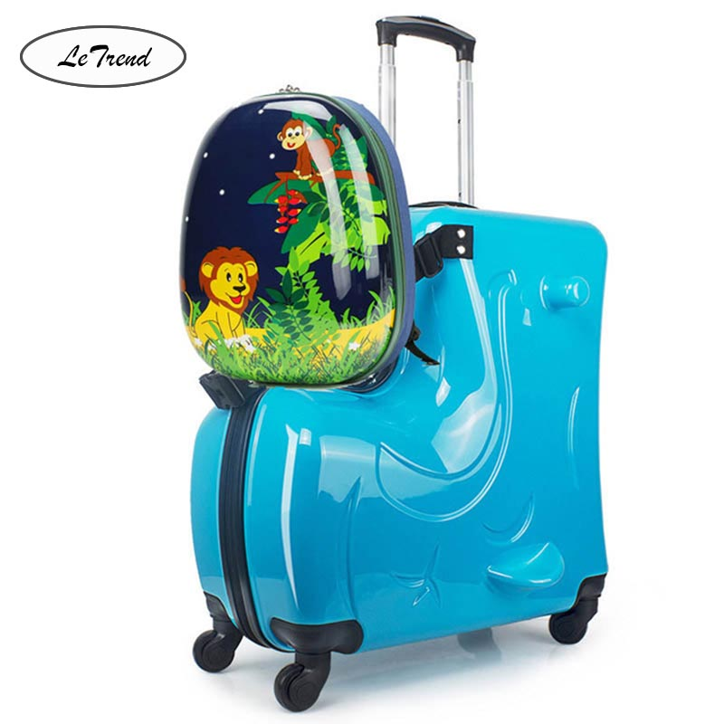 LeTrend Cute Cartoon Children Rolling Luggage Sets Spinner Student Multifunction Suitcase Wheels Kids Trojan horse Trolley