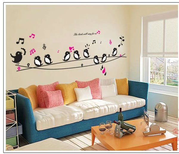 swallow musical note letters baby room setting room TV background removable  wall sticher in Wall Stickers. Room Setting