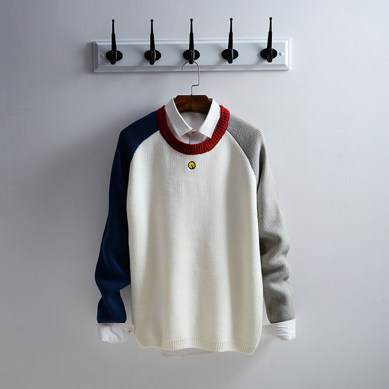 2017 otoño invierno hombres suéteres y suéteres de manga larga patchwork informal suéter de navidad de punto suéter masculino xn041