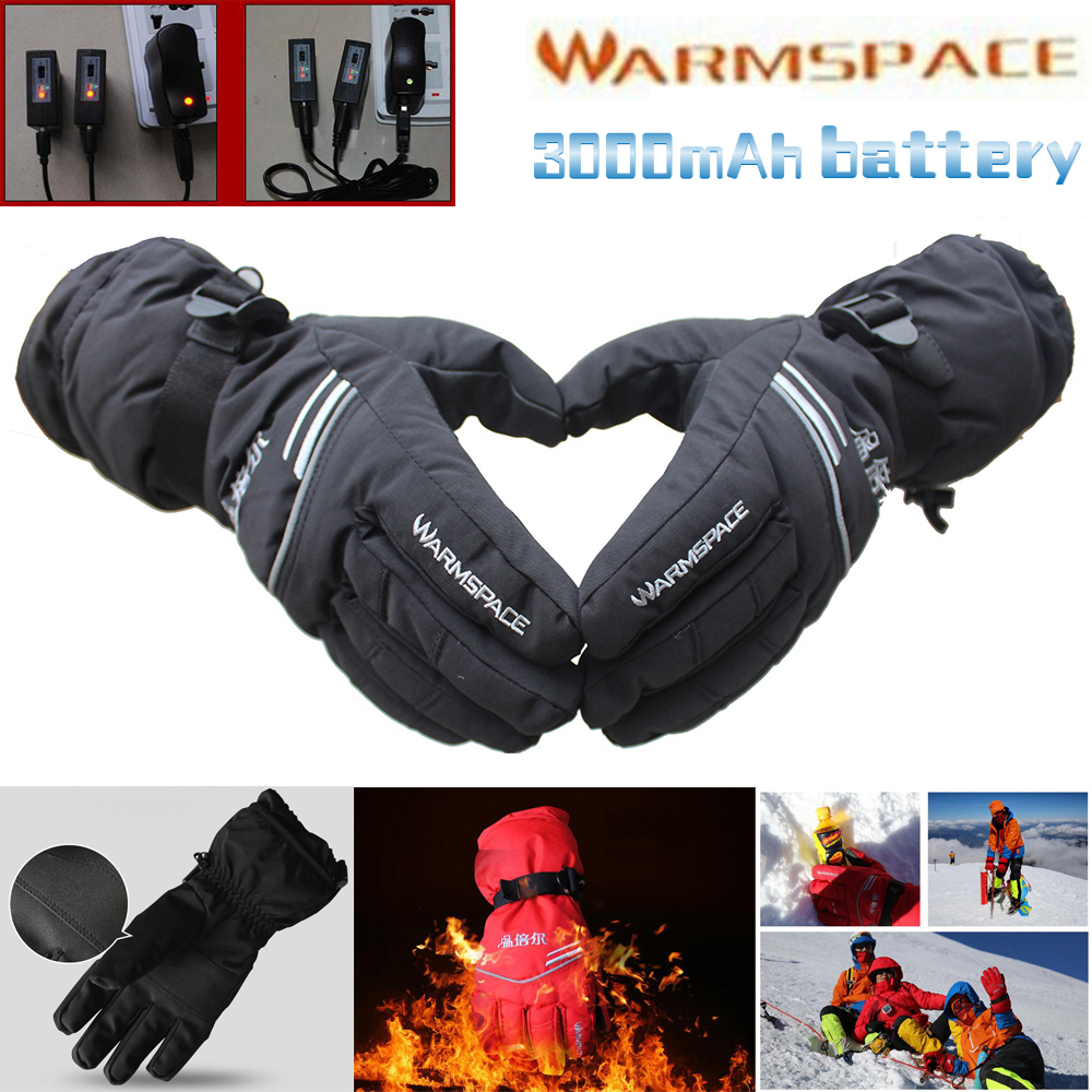 Motorcycle gloves heated battery - 1 Pair Outdoor Work Electric Heated Hands Warmer Gloves Winter Ski Warm Glove W 3000mah Rechargeable Battery