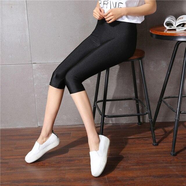 Heißer Sommer herbst Mode leggings frauen sonnenlicht shiny capris Leggings Mid-Taille Dünne Elastische shinny Leggings lage plus größe