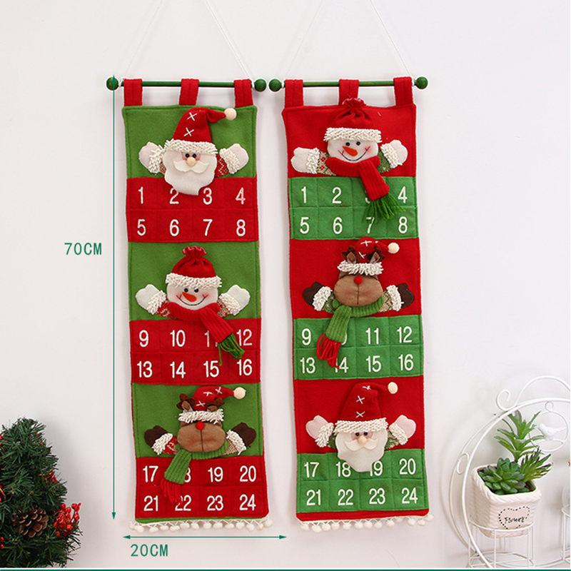 1pc christmas advent calendar 2019 new year decor door. Black Bedroom Furniture Sets. Home Design Ideas