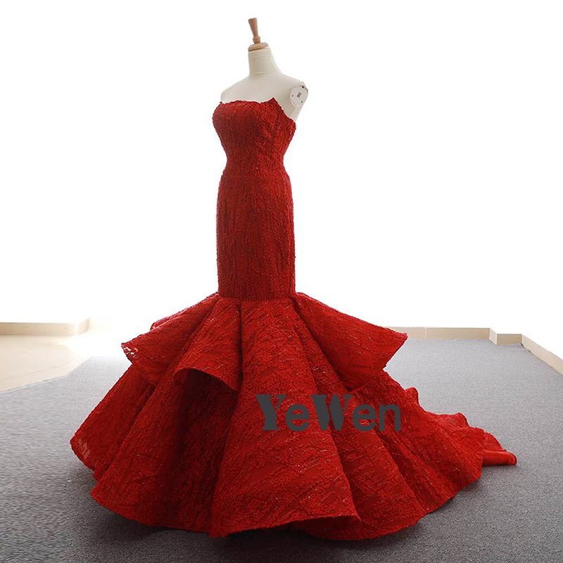 YeWen Luxury Strapless Burgundy Trumpet Mermaid Long Lace Formal Evening Dress 2019 High end Dubai Bride Gown Women Elegant in Evening Dresses from Weddings Events