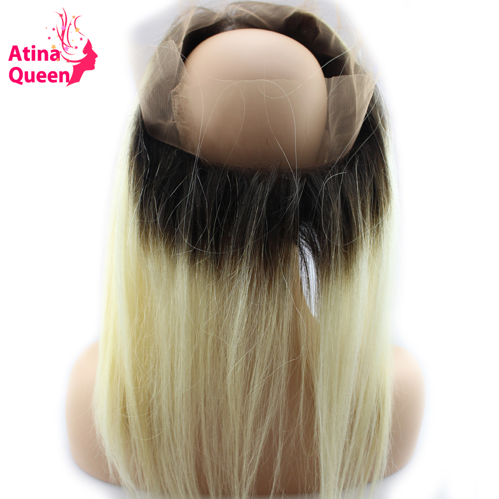 Atina Queen 1b 613 360 Lace Frontal Closure Straight Dark Roots Blonde Full 360 Lace Band