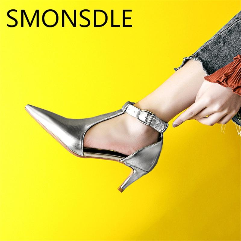 2018 Wanita Kaki Menunjuk Kulit Asli Sandal Emas Perak Gesper Tali - Sepatu Wanita - Foto 5