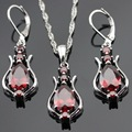 Red Created Garnet Silver Color Necklace Pendant Long Drop Earrings Jewelry Sets  For Women Free Gift Box