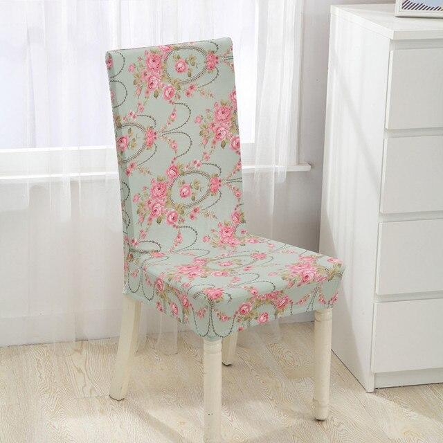 כיסא מכסה צד מראה פרח המודפס אלסטיים ספנדקס פוליאסטר מכסה כיסוי כיסא אוכל כיסא מלון לסעודת חתונה V43