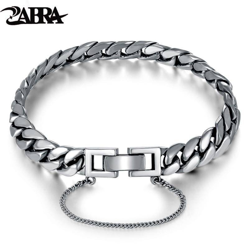 ZABRA Genuine 925 Sterling Silver Bracelet Horse Link Chain Bracelets Man Women Korea Girls Charms Snake Silver Female Jewelry цены