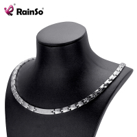 RainSo Female Zircon Necklace Classic Popular Stainless Steel Health Magnetic Therapy Hematite Power Necklaces for Women OSN 443