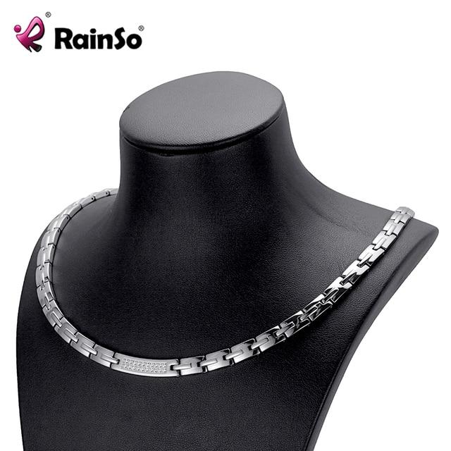 RainSo Nữ Zircon Vòng Cổ Cổ Điển Phổ Biến Thép Không Gỉ Y Tế Điều Trị Từ Hematite Điện Dây Chuyền đối với Phụ Nữ OSN-443