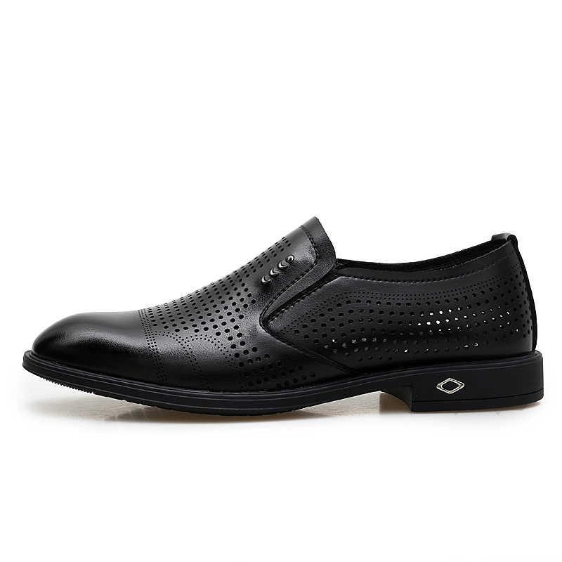 Misalwa zapatos de diseñador de Primavera de verano para hombre, vestido de alta calidad, zapatos formales negros, zapatos de Oxford de oficina clásicos huecos