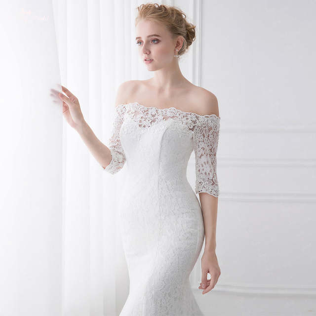a2bcec8fe62 Eureka Fashion 6515 Off The Shoulder Lace Mermaid Wedding Gown Off