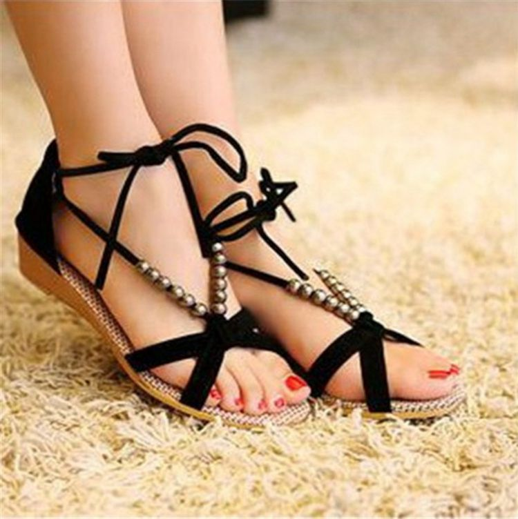 Summer Women Sandal Causal String Beads Gladiator Platform Wedges low heel wedges casual single shoes soft slippers Baok-801 phyanic 2017 gladiator sandals gold silver shoes woman summer platform wedges glitters creepers casual women shoes phy3323