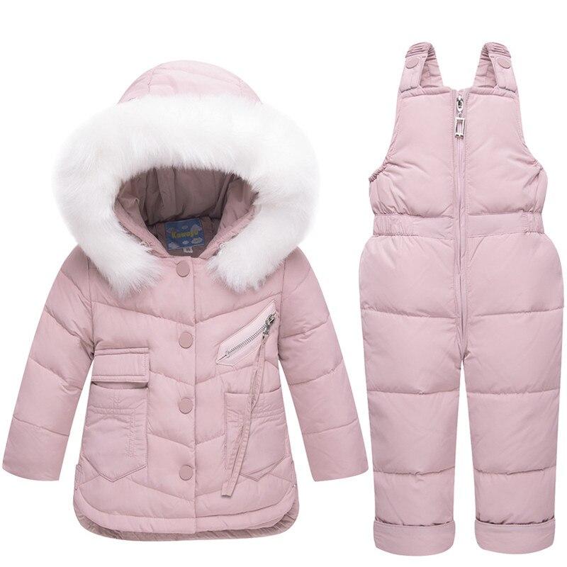 2018 hiver chaud bébé filles vêtements ensembles fille Ski costumes enfants vêtements de plein air à capuche fourrure vers le bas manteaux veste + combinaison 2 pc costume
