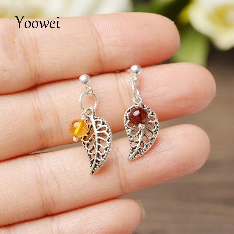 Yoowei nouveau luxe naturel ambre boucles d'oreilles 925 feuille d'argent asymétrique Chic court femme Dangle boucles d'oreilles femmes bijoux en gros