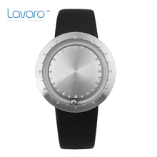 LAVARO Fashion Simple Watch Stainless Steel ball Silver Case Analog Quartz Watch With Genuine Leather Men Sport Wristwatch Gift