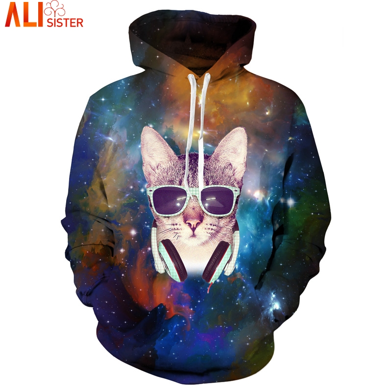 Galaxy Space Glasses Cat Hoodies EUR Plus Size Hoody Sweatshirt Alisister Unisex Hip Hop Tracksuit Pullover Tops Drop Ship ...