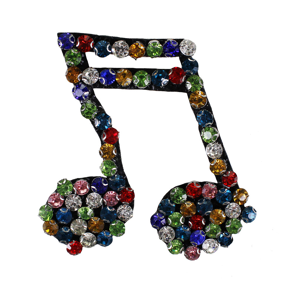Music notation sequins Embroidery Iron//sew on patch applique Hat Bag badge Motif