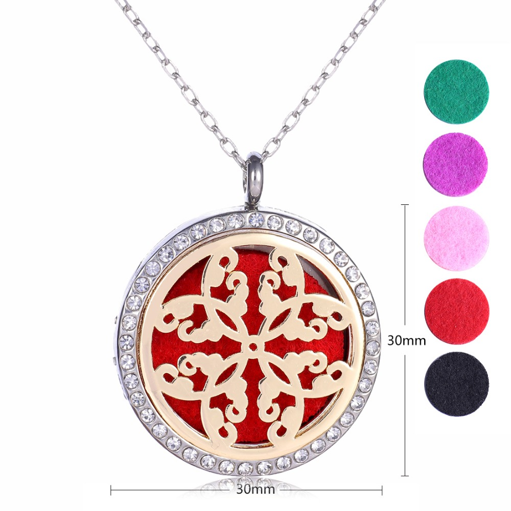 Butterfly Pendant necklace (30mm) Aromatherapy Perfume Diffuser Floating Locket Necklace For Best Gifts Include 24Chain+5 Pads