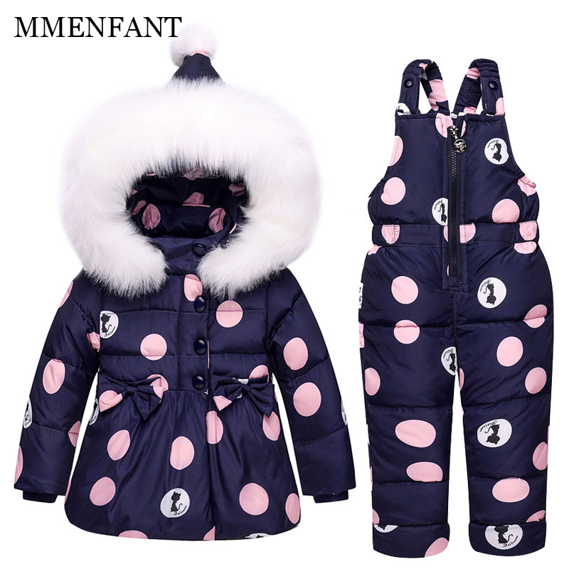 все цены на Children's down jackets 2017 Dot print jacket coats +jumpsuit 1-2-3 year old baby fur collar baby clothes sets girl winter coat