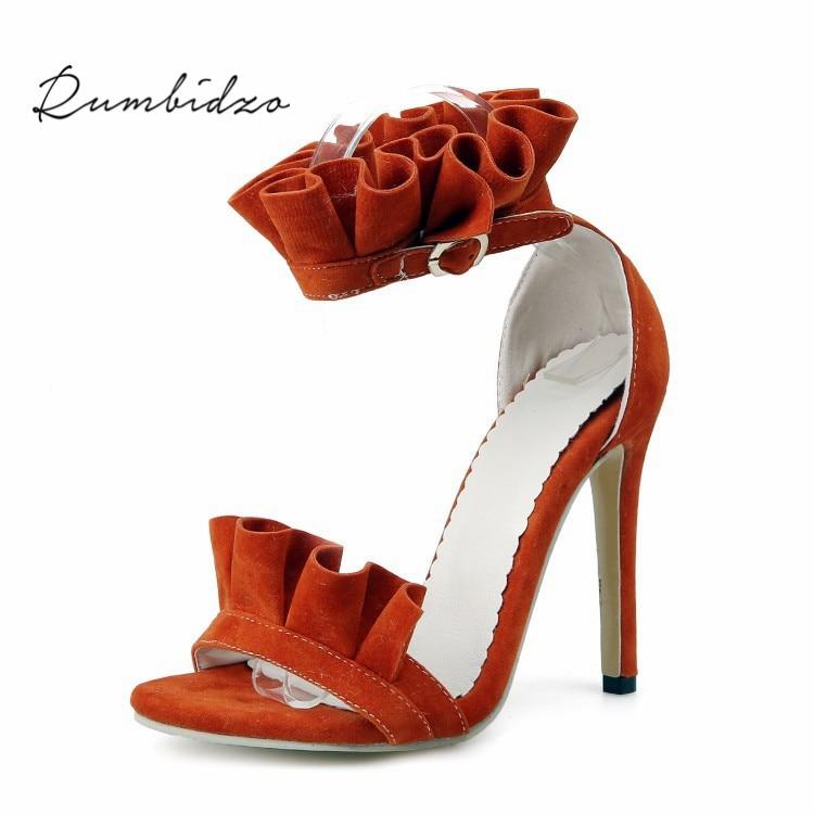 Rumbidzo 2018 Fashion Women Pumps Shoes Woman Elegant Ruffles High Heels Shoes Open Toe Thin Heels Party SHoes Sapatos rumbidzo women pumps 2018 fashion women high heels shoes thick heel ankle strap woman summer open toe shoes sapatos page 3