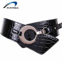 Fashion Women Elastic Wide Belt Female Crocodile Pattern Leather Belt Simple Bundles Black Tilt Adjustable Belts