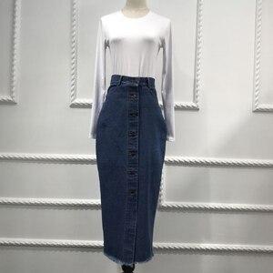 Image 4 - Faldas Mujer Moda 2020 Plus rozmiar Abaya dubaj muzułmanki długi dżinsowy spódnica turecki islamski dżinsy Bodycon długie spódnice