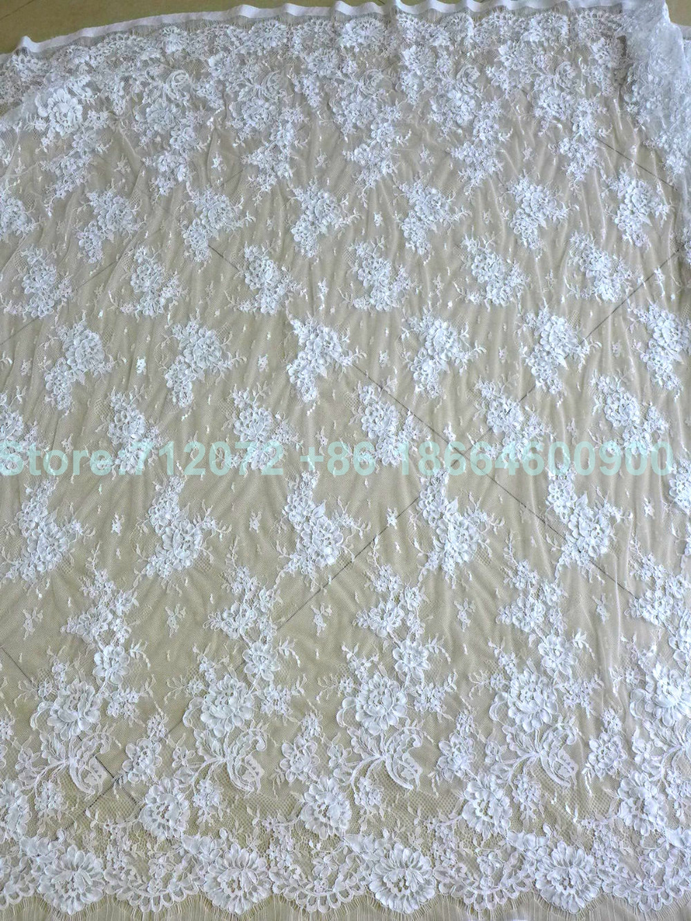 150 cm * 3 meters door stuk goede kwaliteit off wit Venetië geborduurde Franse wimper bruids kant stof - 6