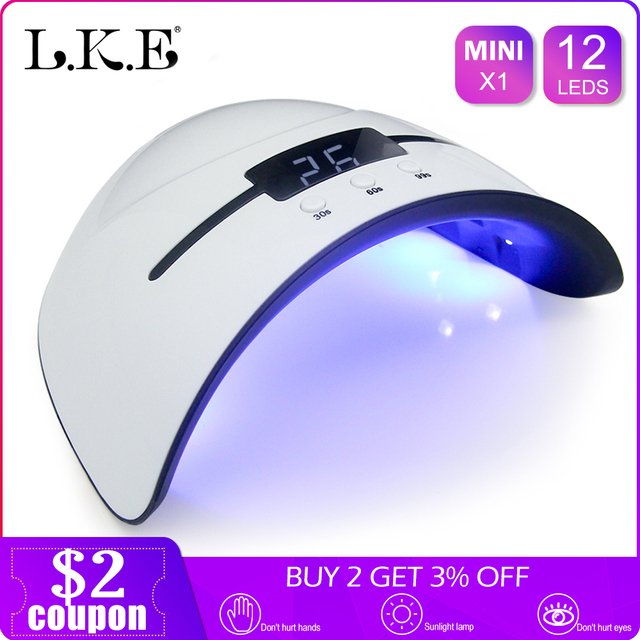 LKE 36W UV Lamp Nail Dryer For All Types Gel 12 Leds UV Lamp for Nail Machine Curing 30s 60s 90s Timer USB Portable UV lamps