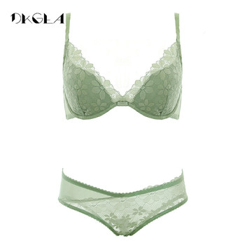 2019 New Sexy bra sets thin cotton brassiere embroidery underwear set women lace green bra and panty sets push size B C D cup brassiere