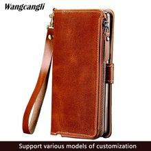 Için iphone 7 durumda fermuarlı çanta için tam muhafaza telefon kılıfı için iphone 6 6 s artı 7 7 artı 8 8 artı x inek derisi telefon kılıfı wangcangli