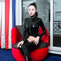 Zipper Hollowing Out Long Sleeve Bodysuit Sexy Bodysuits Leather PVC Catsuit Bodystocking Sexy Hot Erotic One Piece Overalls