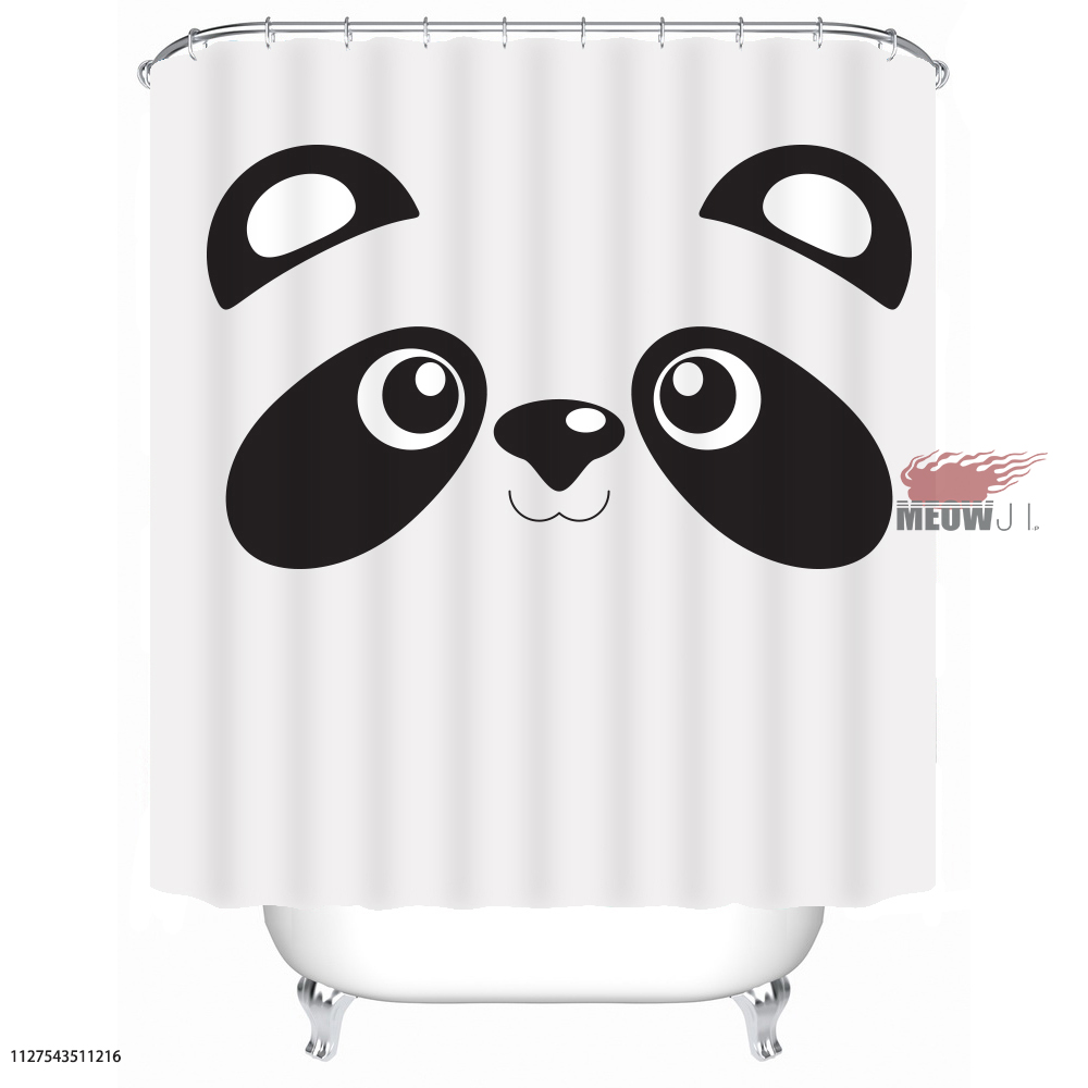 Black And White Panda Cute Animal Custom Shower Curtain Bathroom Decor Various Sizes Free Shipping In Curtains From Home Garden On Aliexpress